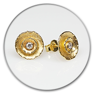 Earrings with two circlets and brilliants in 18k gold