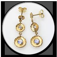 Ohrhaenger mit facetierten Mondsteinen und Brillanten in 750 Gelbgold