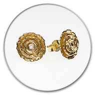 Earrings with three circlets and brilliants in 18k gold