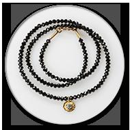 Fantastisch funkelnde schwarze Diamantkette mit einem Anhänger in 750 Gelbgold und Brillant