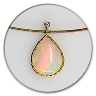 Pendant with colourful opal and briliant in 18k gold