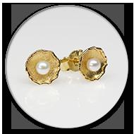 Ohrstecker mit Perlen in 750 Gelbgold